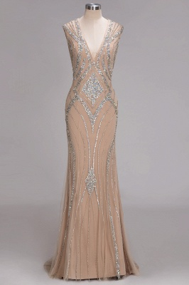 Sleeveless Beadings Long Mermaid V-Neck Luxury Crystal Prom Dress UK_1