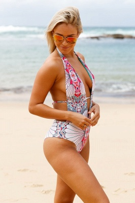 Deep V-neck Halter One-piece Printed Swimsuit_4