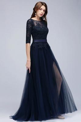 NANA | A-line Half Sleeves Floor Length Slit Appliqued Tulle Prom Dresses with Sash_11