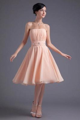 Crystal Chiffon Knee-Length Ruffles A-Line Gorgeous Strapless Bridesmaid Dress UK_1
