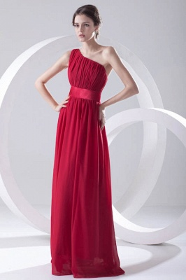 Floor-length Elegant Sleeveless A-line Red One-shoulder Bridesmaid Dress UK_1