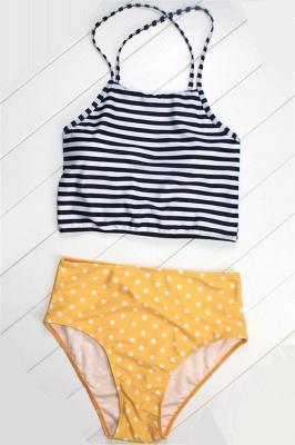 Patterned Halter Polyester Sexy Bikinis Swimwear_3