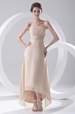 Strapless Sexy Sleeveless Hi-lo Light-Champagne Chiffon Sheath Bridesmaid Dress UKes UK_1