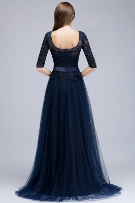 NANA | A-line Half Sleeves Floor Length Slit Appliqued Tulle Prom Dresses with Sash_2