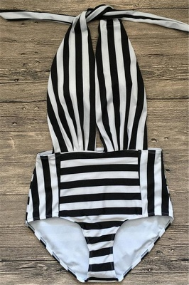 Black and white stripes One-piece Swimwear_4