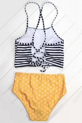 Patterned Halter Polyester Sexy Bikinis Swimwear_4