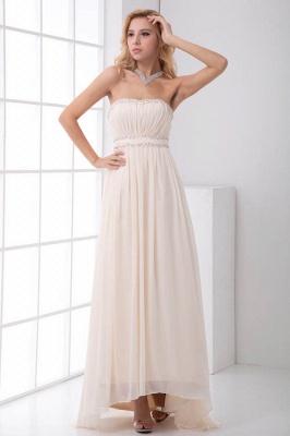 Sexy Open-Back Elegant Chiffon Beads Summer Sweep-Train Sleeveless Strapless Bridesmaid Dress UKes UK_1