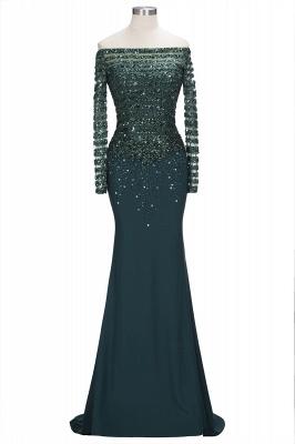 off-the-Shoulder Dark-Green Long-Sleeves Sequins Mermaid Evening Dress UK_1