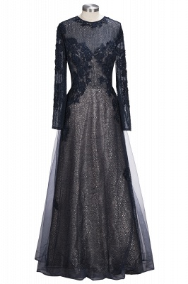 Lace-Appliques Black Long-sleeve Modern Scoop Evening Dress UK_1