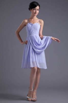 Sexy Online Ruffles Short Lavender Chiffon Spaghetti-Straps Bridesmaid Dress UKes UK_1