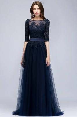 NANA | A-line Half Sleeves Floor Length Slit Appliqued Tulle Prom Dresses with Sash_1