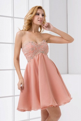 Lace-Up A-line Appliques Short Sweetheart Sexy Bridesmaid Dress UKes UK_1
