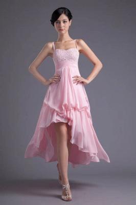 Elegant Pink Beadings Chiffon Prom Dress UK Hi-Lo Spaghetti Strap_1