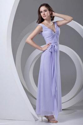 Open-Back Popular Ankle-Length Sexy V-neck Chiffon Lavender Bridesmaid Dress UKes UK_1