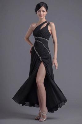Elegant One Shoulder Chiffon Evening Dress UK Front Split Beadings_1