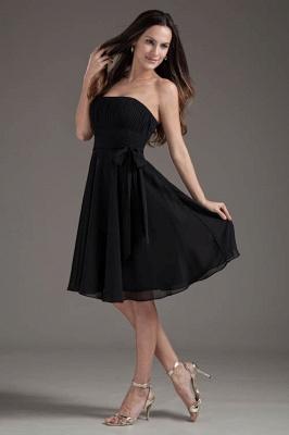 Sleeveless Black A-line Strapless Elegant Lace-up Short Bridesmaid Dress UK_1