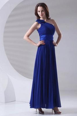 One-Shoulder Simple Chiffon Royal-Blue A-Line Bridesmaid Dress UKes UK_1