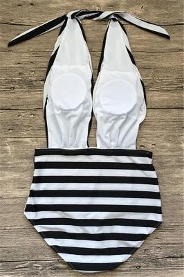 Black and white stripes One-piece Swimwear_3