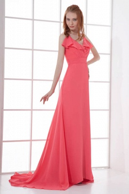 Open-Back Elegant Long-Train Sleeveless Chiffon Straps V-neck Bridesmaid Dress UKes UK_1