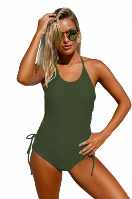Halter Neckline Army Green Lace up Sides Monokini_5