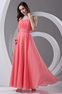 Chiffon Long Watermelon Ruched Strapless Sexy Bridesmaid Dress UK_1
