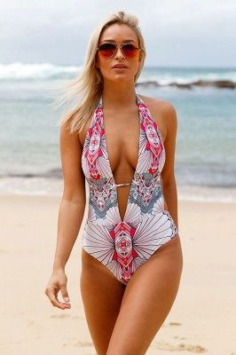 Deep V-neck Halter One-piece Printed Swimsuit_2