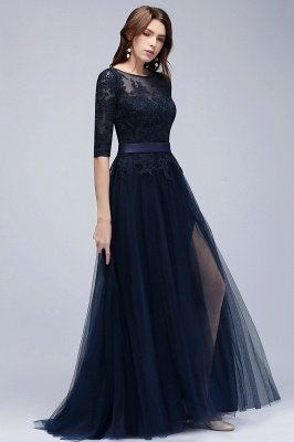 NANA | A-line Half Sleeves Floor Length Slit Appliqued Tulle Prom Dresses with Sash_8