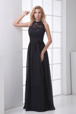 Sleeveless Sash Floor-length Black Lace Modern A-line Bridesmaid Dress UK_1