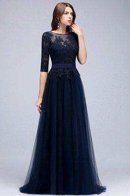 NANA   A-line Half Sleeves Floor Length Slit Appliqued Tulle Prom Dresses with Sash_4