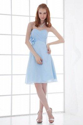 Chiffon Short Zipper-Back Luxury Sky-Blue Sweetheart Bridesmaid Dress UK_1