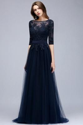 NANA   A-line Half Sleeves Floor Length Slit Appliqued Tulle Prom Dresses with Sash_5