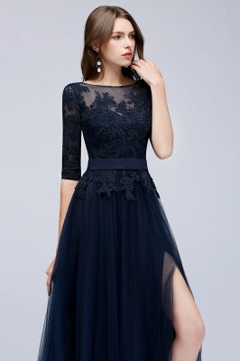 NANA | A-line Half Sleeves Floor Length Slit Appliqued Tulle Prom Dresses with Sash_6