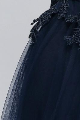 NANA   A-line Half Sleeves Floor Length Slit Appliqued Tulle Prom Dresses with Sash_9