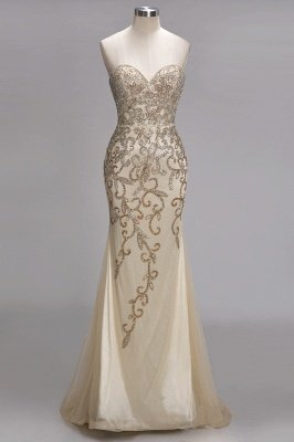 Backless Crystals Beaded Luxury Sweetheart Formal Long Tulle Evening Gowns_1