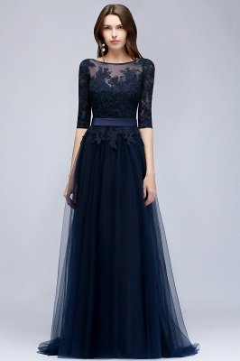 NANA   A-line Half Sleeves Floor Length Slit Appliqued Tulle Prom Dresses with Sash_1