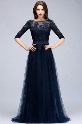NANA   A-line Half Sleeves Floor Length Slit Appliqued Tulle Prom Dresses with Sash_3