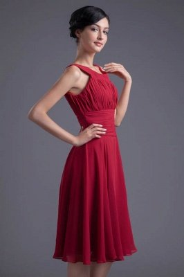 Luxury Chiffon Ruched Zipper Short Scoop Bridesmaid Dress UK_1