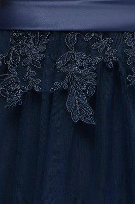 NANA   A-line Half Sleeves Floor Length Slit Appliqued Tulle Prom Dresses with Sash_10
