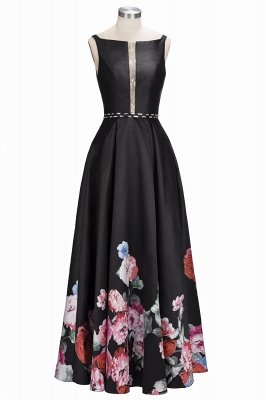 Printing A-line Floor-Length Crystal Sleeveless Black Evening Dress UK_1