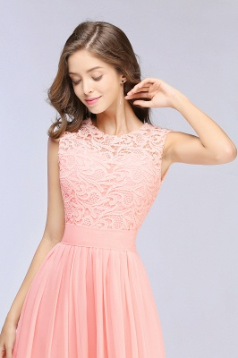 Pink Long Sleeveless Sheer-Back Prom Dress UK Sexy Lace Chiffon Bridesmaid Dress UK_10