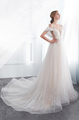 NANCY | A-line Sleeveless Floor Length Lace Ivory Wedding Dresses UK_3