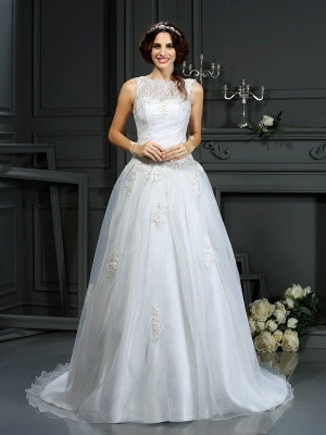 A-Line Scoop Neckline Sleeveless Long Applique Tulle Cheap Wedding Dresses UK_1