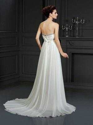 A-Line Sweetheart Sleeveless Ruffles Long  Wedding Dresses UK_2