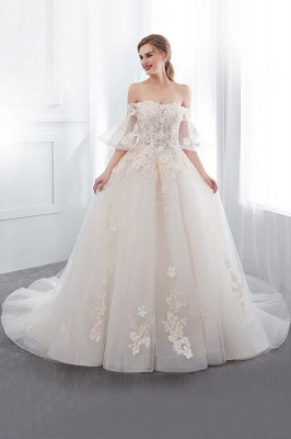 NANCE | Ball Gown Off-the-shoulder Floor Length Appliques Tulle Cheap Wedding Dresses UK_4