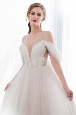 NANCY | A-line Sleeveless Floor Length Lace Ivory Wedding Dresses UK_6