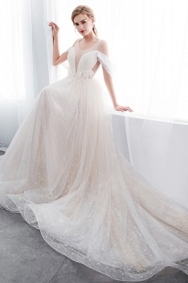 NANCY | A-line Sleeveless Floor Length Lace Ivory Wedding Dresses UK_10