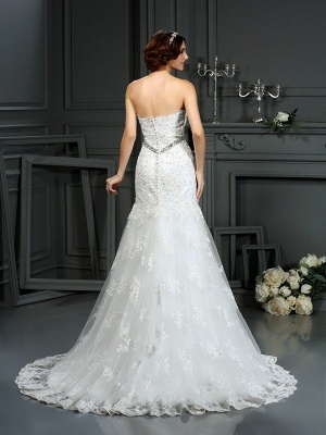 Sexy Mermaid Strapless Sleeveless Beads Long Lace Wedding Dresses UK_2
