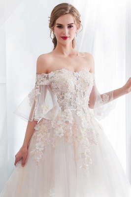 NANCE | Ball Gown Off-the-shoulder Floor Length Appliques Tulle Cheap Wedding Dresses UK_7