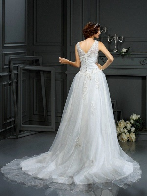 A-Line Scoop Neckline Sleeveless Long Applique Tulle Cheap Wedding Dresses UK_2