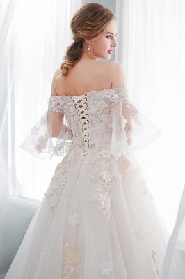 NANCE | Ball Gown Off-the-shoulder Floor Length Appliques Tulle Cheap Wedding Dresses UK_10